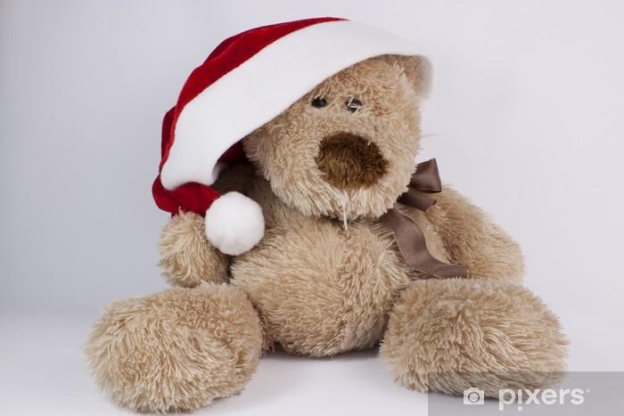 Teddy Weihnachten.Fototapete Weihnachten Teddy Bär In Einem Cap Santa Claus