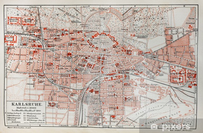 Karte Karlsruhe.Fototapete Weinlese Karte Von Karlsruhe