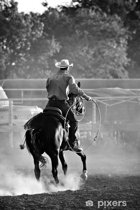 Pixerstick Sticker Cowboy met lasso op paard op een rodeo, toegevoegde graan - Amerika