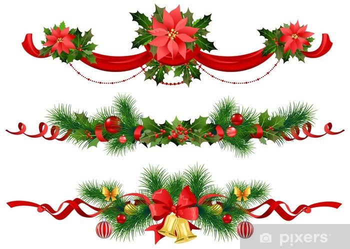 Vinylová fototapeta Vánoční slavnostní dekorace s smrku - Vinylová fototapeta