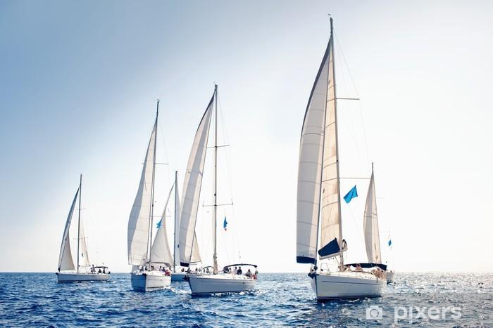 Sailing ship yachts with white sails Vinyl Wall Mural - Boats