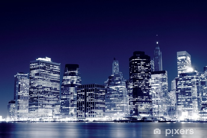 Lower Manhattan Skyline At Night, New York City Pixerstick Sticker -