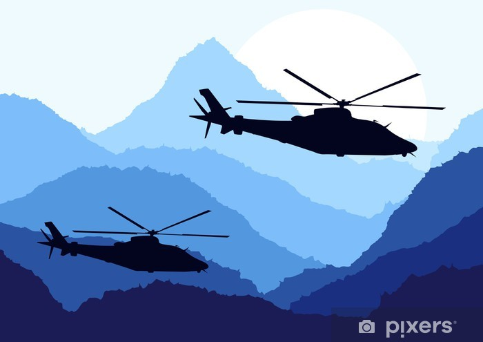 Adesivo Pixerstick Elicotteri dell'esercito in montagna paesaggio di sfondo - Altri sentimenti