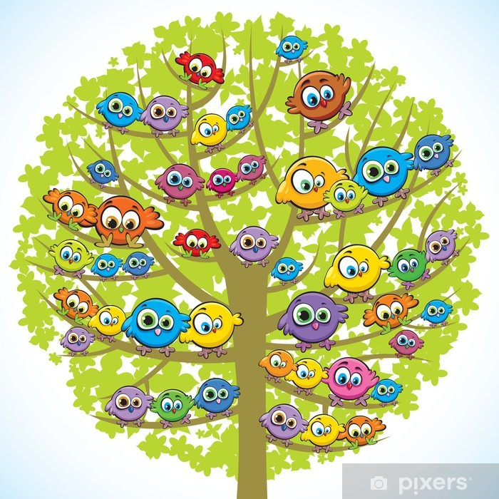 Funny birds and tree Framed Poster -