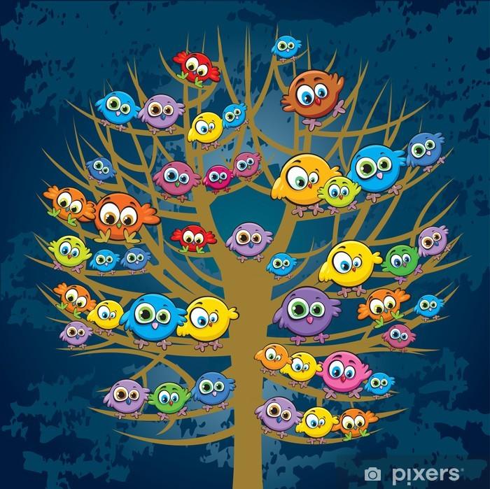 Vinilo para Nevera Pájaros divertidos y árbol - Para niño