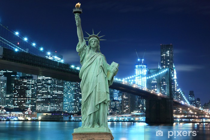 Carta Da Parati Ponte Di Brooklyn E La Statua Della