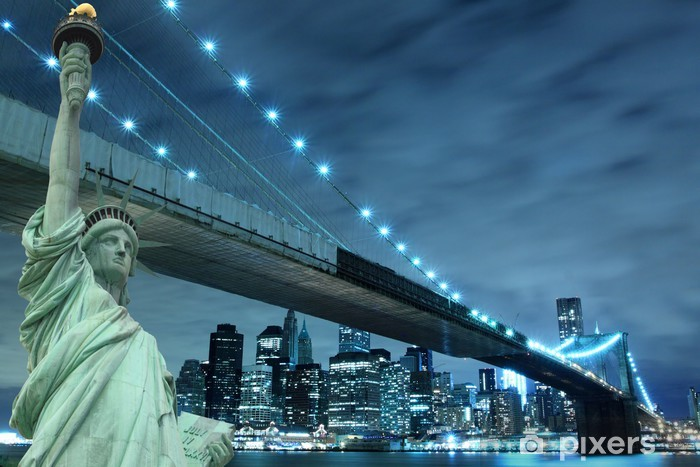 Brooklyn Bridge and The Statue of Liberty at Night Pixerstick Sticker - Destinations