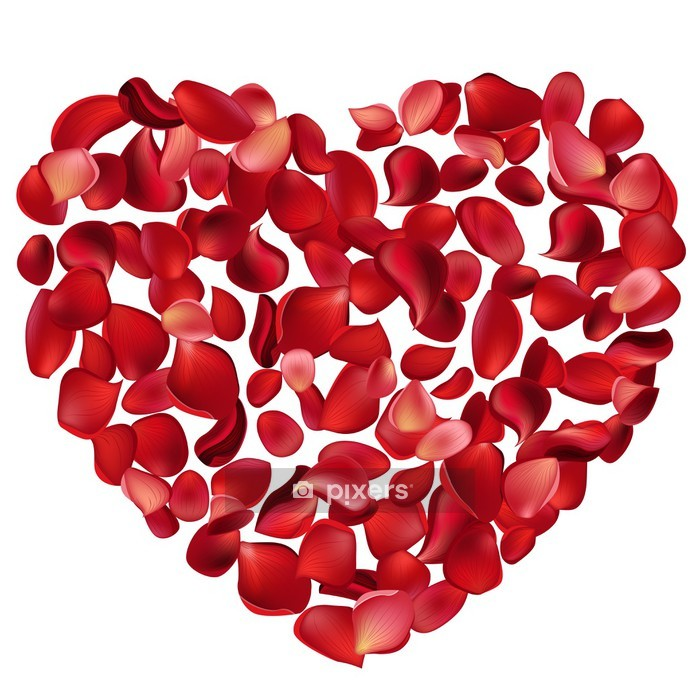 Big heart made of red rose petals Wall Decal - International Celebrations