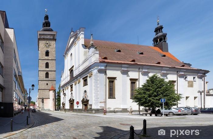 Vinylová fototapeta Černá věž a katedrála svatého Mikuláše v Českých Budějovicích - Vinylová fototapeta