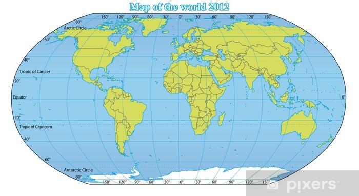 Fototapeta Mapa Swiata 2012 W Tym Nowych Panstw Takich Jak South