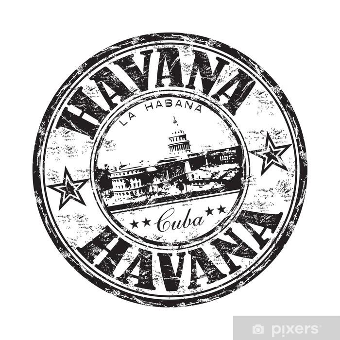 Carta da Parati in Vinile L'Avana grunge timbro di gomma - America