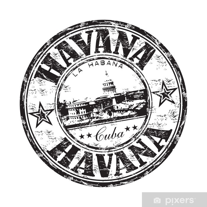 Papier peint vinyle La Havane grunge rubber stamp - Amérique