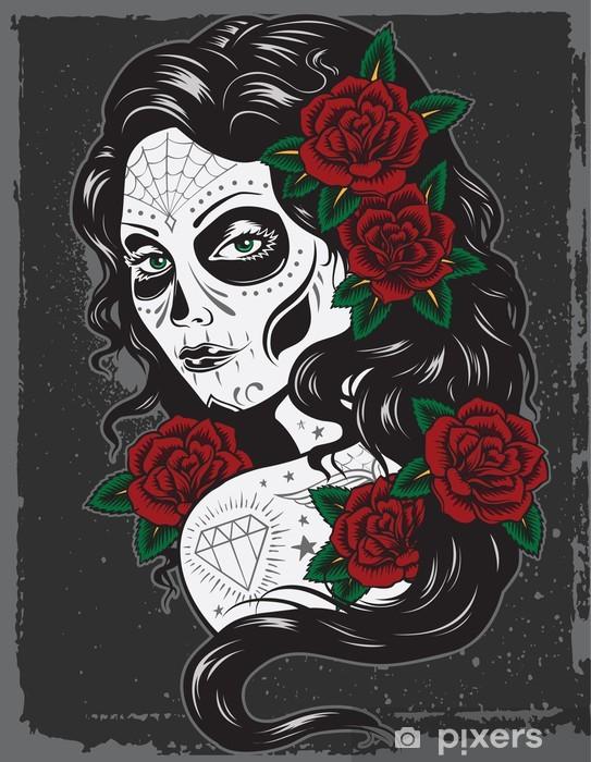 Fotomural Estándar Día de la ilustración muerta tatuaje chica - Estilos