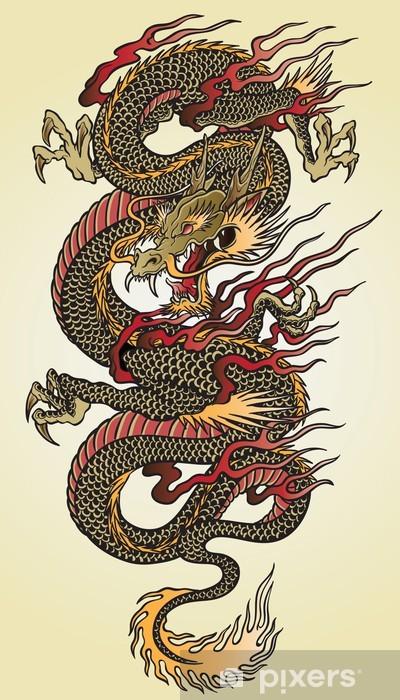 Naklejka Pixerstick Szczegółowa ilustracja azjatycki tatuaż smoka - Style