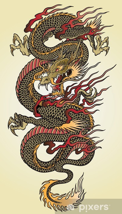 Detailed Asian Dragon Tattoo Illustration Vinyl Wall Mural - Styles