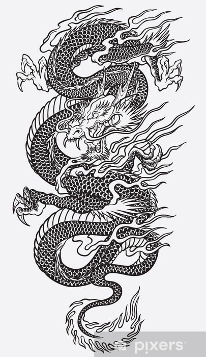 Fototapete asian dragon linework vector pixers wir leben um zu ver ndern - Dragon japonais dessin ...