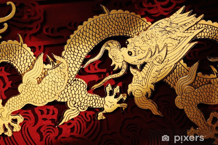 traditional chinese dragon painting wall mural  u2022 pixers