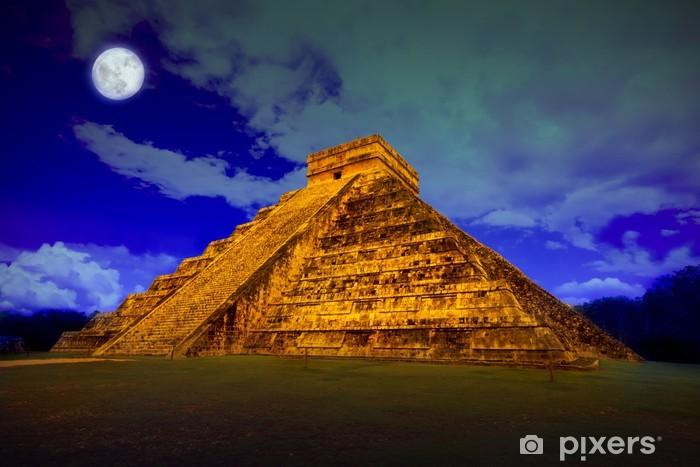 The pyramid of Kukulcan at Chichen Itza at full moon Pixerstick Sticker - America