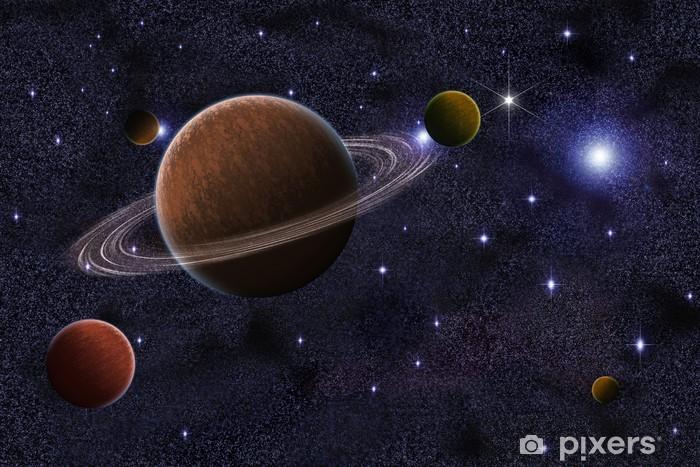 Papier peint vinyle Résumé Saturne dans le fond de galaxie - Étoiles