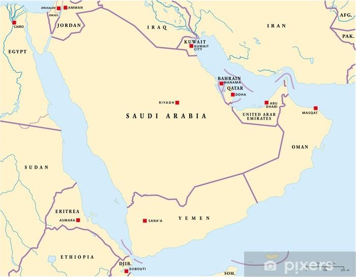 Naklejka Mapa Polwyspu Arabskiego Pixers Zyjemy By Zmieniac