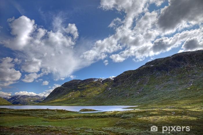 Fototapeta winylowa Malownicze norweski krajobraz z niewielkim jeziorem i zielonych wzgórz, - Europa