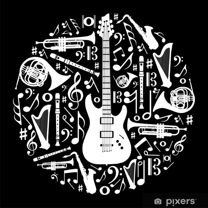 Black and white love for music concept illustration background Poster - Styles