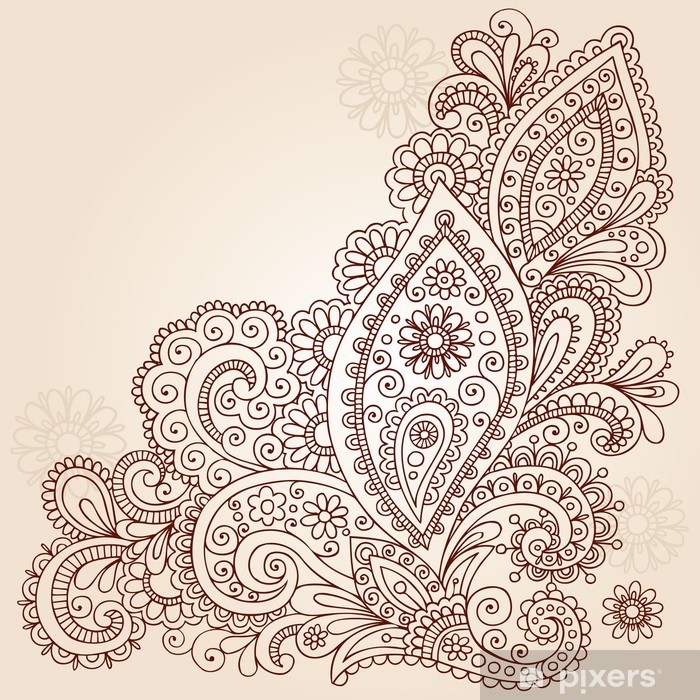 Henna Mehndi Paisley Flower Doodle Vector Design Poster - Themes