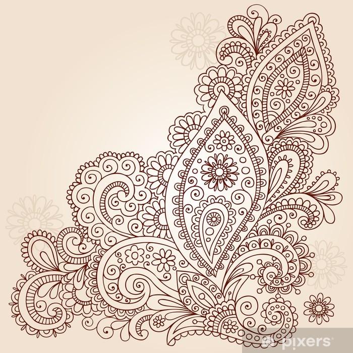 Henna Mehndi Paisley Flower Doodle Vector Design Vinyl Wall Mural - Themes