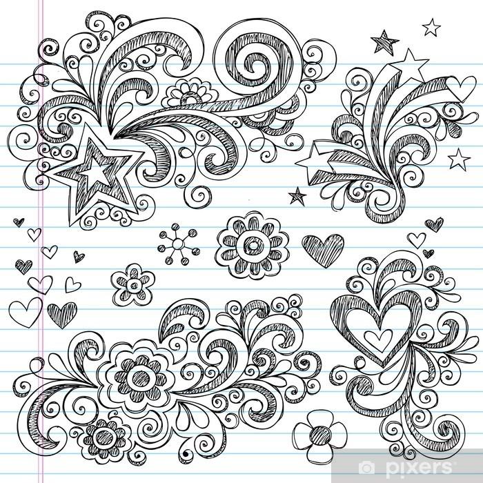 Plakat Powrót do szkoły Style Sketchy doodles elementów projektu Ustaw - Kwiaty