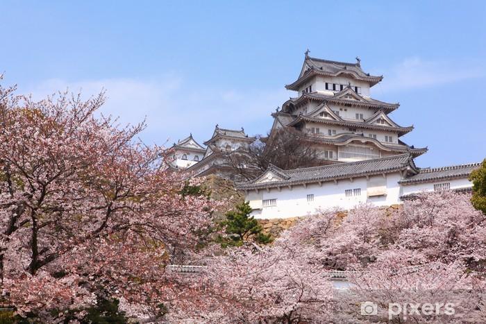 Sticker pour table et bureau château japonais et beau tir de rose