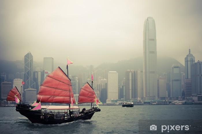 Fototapeta winylowa Chiński styl żaglówkę w Hongkongu - Style