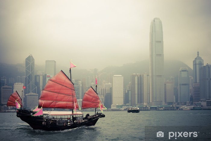 chinese style sailboat in Hong Kong Pixerstick Sticker - Styles