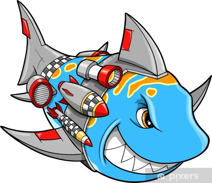 Sticker Pixerstick Métal armés Robot Cyborg Shark Vector Illustration moyenne - Sticker mural