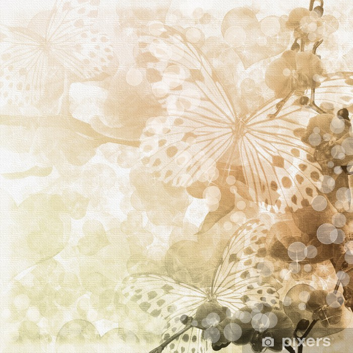Butterflies and orchids flowers beige background ( 1 of set) Vinyl Wall Mural - National Events