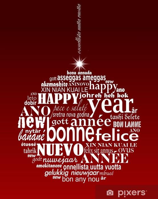 """Naklejka Pixerstick Christmas ball poliglota """"Happy New Year"""" - Święta międzynarodowe"""