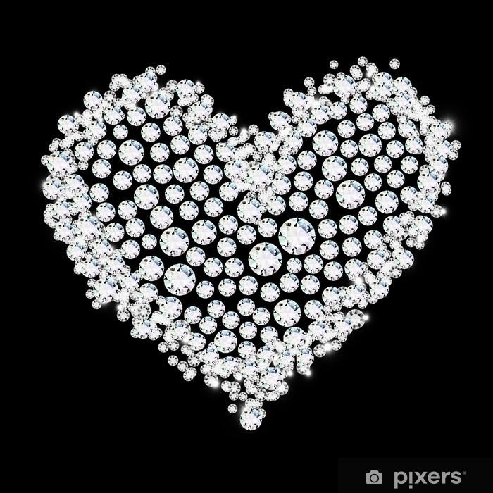 Naklejka Pixerstick Diament serce na czarnym tle, miłość walentynki - Święta międzynarodowe