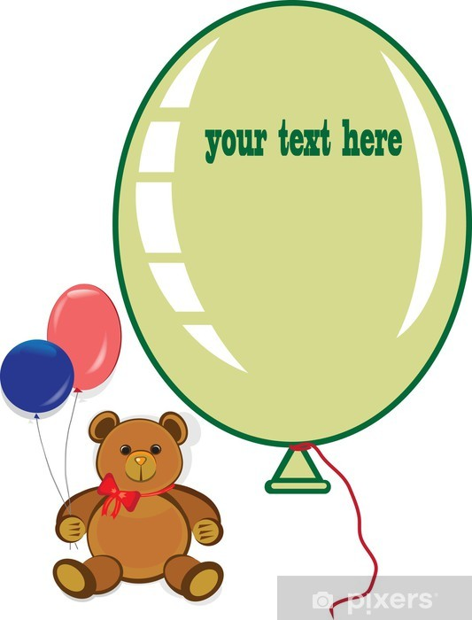 Happy Birthday Card Teddy Bear And Balloons Wall Mural Pixers