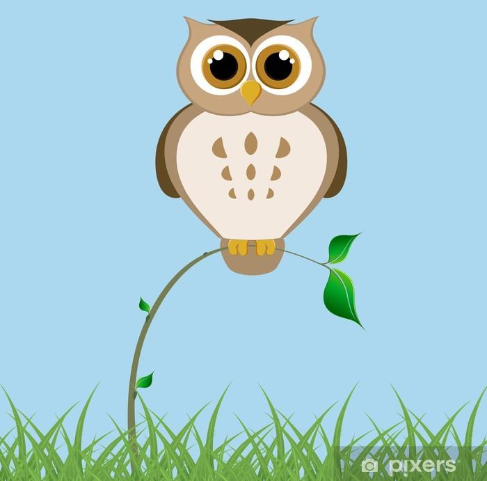 Big owl on a thin branch Pixerstick Sticker - Themes