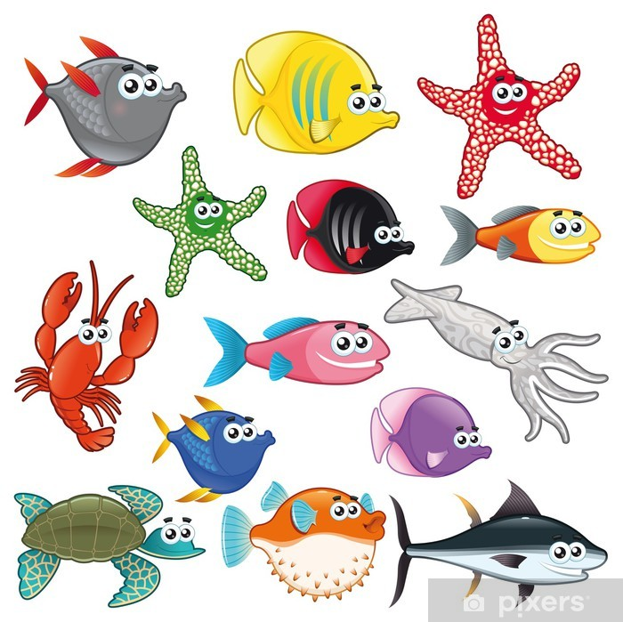 Vinilo para Nevera Familia de pescados divertidos. Vector aislado caracteres. - Animales marinos