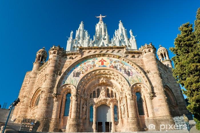 Sticker Pixerstick Église Tibidabo à Barcelone, Espagne. - Villes européennes