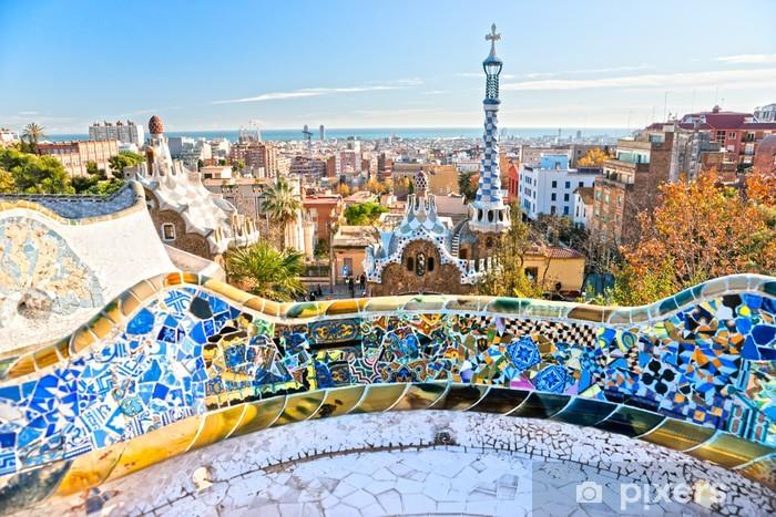 Vinyl Fotobehang Park Guell in Barcelona, Spanje. - Bestemmingen