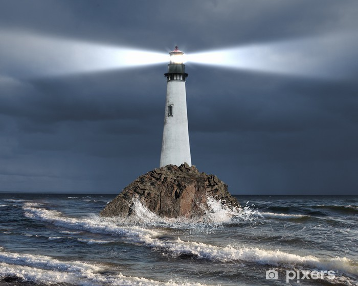 Lighthouse with a beam of light Vinyl Wall Mural - Lighthouse