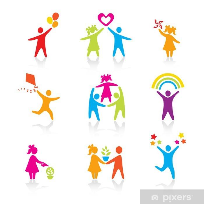 Plakát Sada ikon - Silueta rodiny. ženě, člověče, dítě, chlapec, dívka - Děti