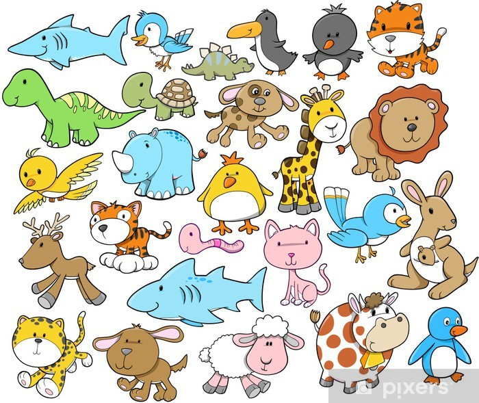Papier peint vinyle Mignon éléments animaux Vector Design Set - Pour enfant 5 ans