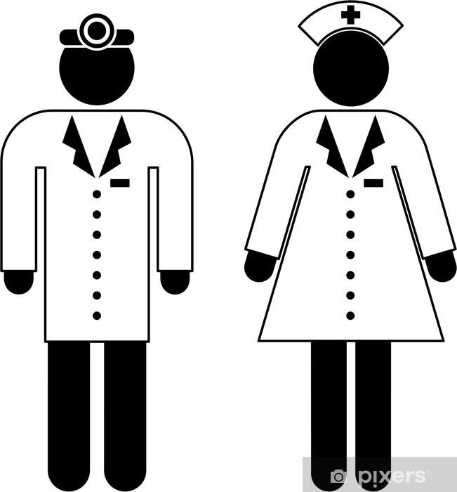 Papier peint vinyle Pictogramme d'un médecin et d'une infirmière - Au travail