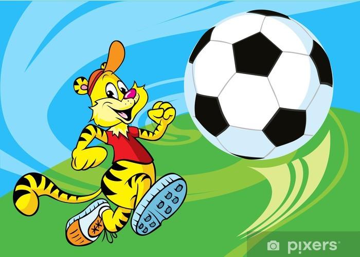 Çıkartması Pixerstick Tiger futbol topu çalışır - Anaokulu çocuğu