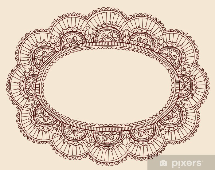 Henna Lace Doily Frame Vector Doodle Wall Mural Pixers We Live