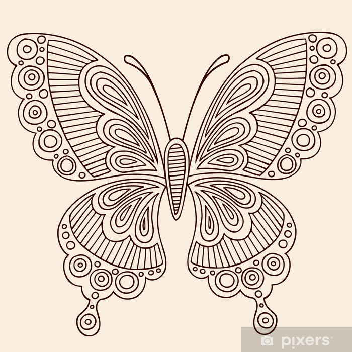 Henna Tattoo Butterfly Doodle Vector Design Wall Mural Pixers