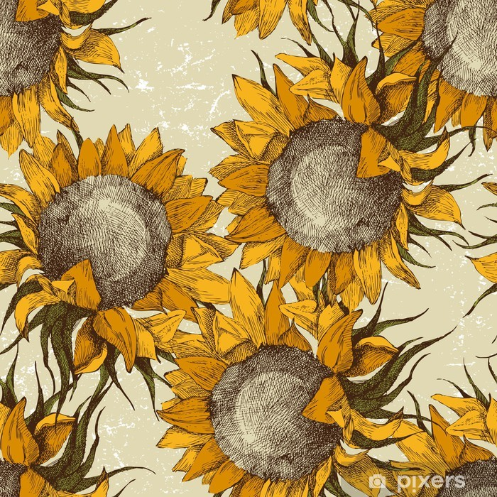 seamless ornament with sunflowers Pixerstick Sticker - Themes