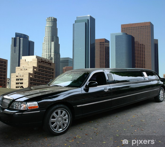Sticker Pixerstick Limousine noire dans le centre-ville de Los Angeles - Thèmes